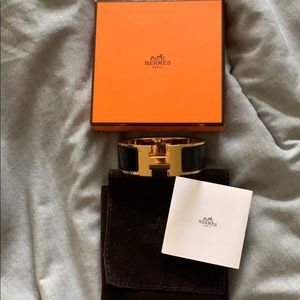 Hermès Clic Clac Bracelet Black and Gold -…